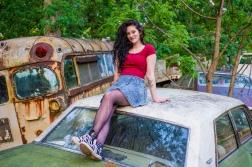 Gabby on car